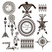 image of indian chief  - Tribal native american indian tribes ornamental black and white decorative elements set isolated vector illustration - JPG
