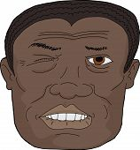 image of overbite  - Close up of adult African man biting lip on white background - JPG