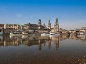 pic of trinity  - Dresden Cathedral of the Holy Trinity aka Hofkirche Kathedrale Sanctissimae Trinitatis in Dresden Germany seen from the Elbe river - JPG
