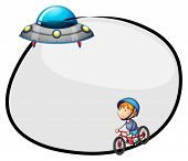 stock photo of flying saucer  - Illustration of a round empty template with a flying saucer and a boy biking on a white background - JPG