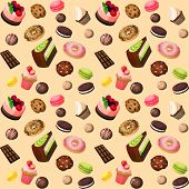picture of cake-ball  - Sweets seamless background of cakes chocolate biscuits macaron donut vector illustration - JPG