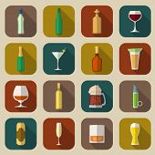 pic of porter  - Alcohol drinks bottles and glass icons flat set of tequila vermouth whiskey isolated vector illustration - JPG