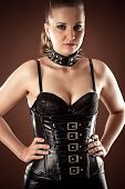 picture of sadomasochism  - beautiful woman in corset and spiked collar - JPG
