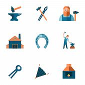 stock photo of blacksmith shop  - Decorative blacksmith shop anvil steel tongs tools and horseshoe pictograms icons collection flat isolated vector illustration - JPG