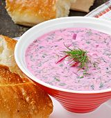 stock photo of lenten  - Cold soup with beetroot and yogurt in bowl - JPG