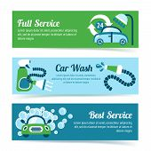 stock photo of window washing  - Car wash auto cleaner washer shower service banners set isolated vector illustration - JPG