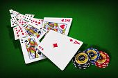 stock photo of combinations  - Poker Combination chips Playing cards in casino - JPG