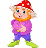 image of gnome  - Illustration of cute Gnome with mushroom hat - JPG