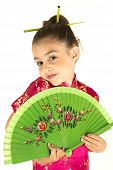 picture of coy  - adorable girl in Asian dress coy expression - JPG