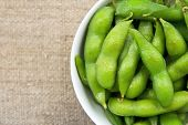 picture of soy bean  - close up image of Edamame soy beans - JPG