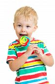 image of lollipops  - happy kid boy eating lollipop candy isolated - JPG