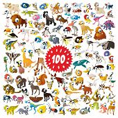 stock photo of tapir  - 100 vector cartoon animals - JPG