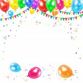 foto of confetti  - Holiday background with colored balloons - JPG