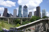 stock photo of bayou  - Houston Skyline from Buffalo Bayou - JPG