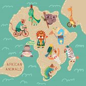 stock photo of koala  - Map of Africa with cute animals in vector. African animals set: jaguar giraffe hippopotamus iguana zebra lion crocodile koala elephant vulture