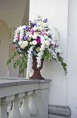 stock photo of manor  - vase with beautiful flowers bouquet on old manor house fence - JPG