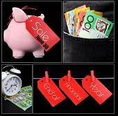 stock photo of year end sale  - Australian End of Financial Year collage of savings sale spending and money in pocket concept images - JPG