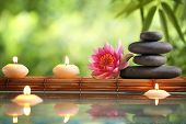 stock photo of zen  - Spa still life with burning candles - JPG