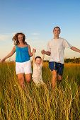 foto of daddy  - Mum the daddy and the boy run in an autumn field  - JPG