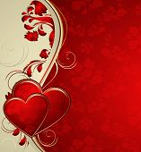 pic of heart valentines  - Vector valentines background with hearts and ornament - JPG