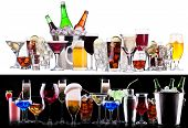 stock photo of champagne color  - different alcohol drinks set   - JPG