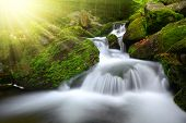 stock photo of cataract  - Waterfall in the national park Sumava - JPG