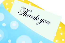 foto of thank you note  - Thank you note or letter in yellow and blue polkadot envelope - JPG