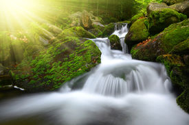 foto of cataracts  - Waterfall in the national park Sumava - JPG