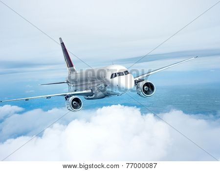 Clear airplane in the sky - Passenger Airliner