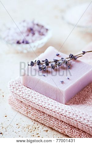 Natural Lavender Soap on a Bath Towel