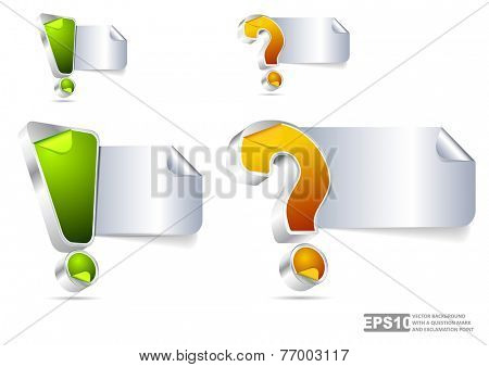 Vector background with question mark and exclamation point for text content