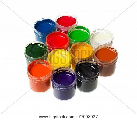 Gouache Paints Isolated On White Background