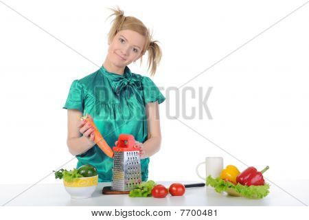 Beautiful Young Girl In The Kitchen