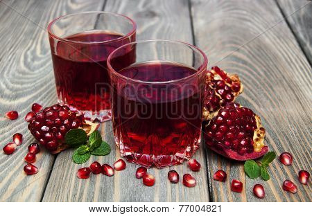 Two Glasses Of Pomegranate Juice