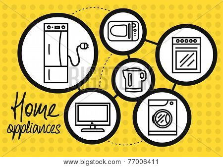 Household appliance for home and kitchen icon set