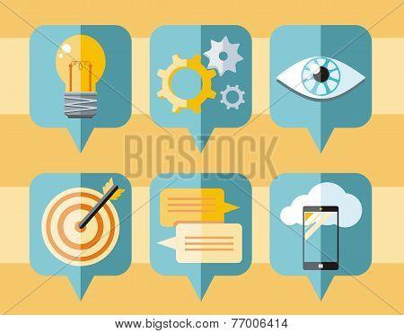 Speech bubble icon set of business elements
