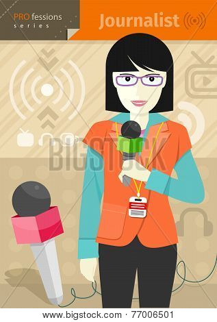 Female journalist with badge holding microphone