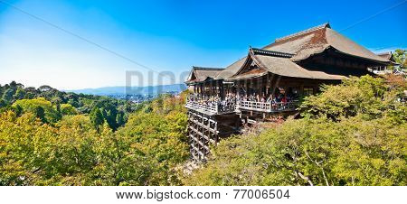 KYOTO,JAPAN - OCT 24, 2014: Kiyomizu-dera stage with fall colors on Oct . 24, 2014, in Kyoto, Japan. Founded in the 700's, the present stage structure dates from 1633.