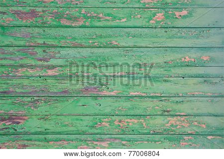 Green flaky painted surface