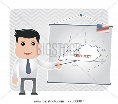 Man with a pointer points to a map of KENTUCKY