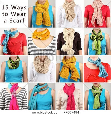 15 ways to tie scarves. Woman wearing scarves