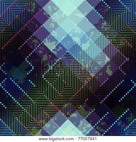 Blue and green Grunge abstract matrix pattern on blurred background