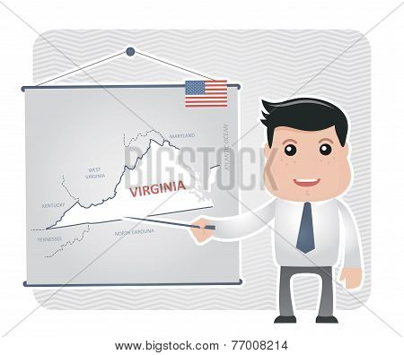 Man with a pointer points to a map of VIRGINIA