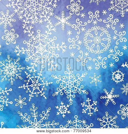 Watercolor texture background with snowflakes