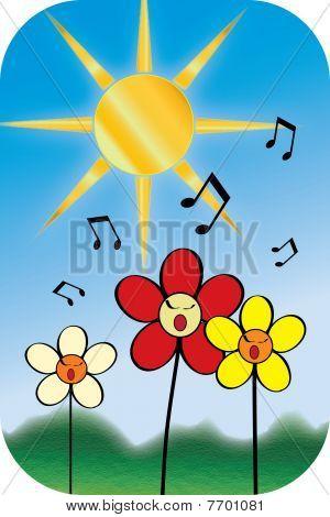 Singing Flowers Illustration