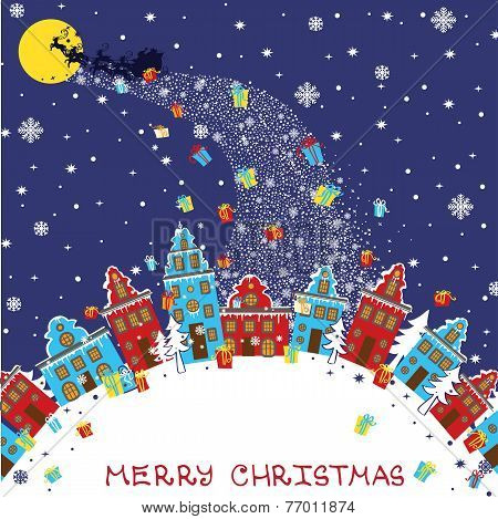 Christmas greeting card.Santa Claus coming to City