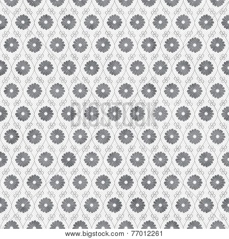 Gray And White Flower Repeat Pattern Background