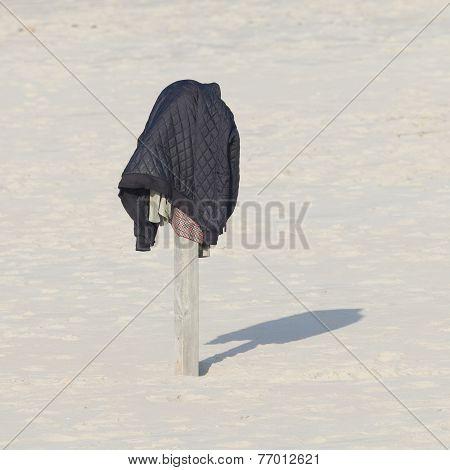 Jacket On A Pole At The Beach