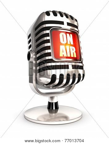 3d retro microphone on air