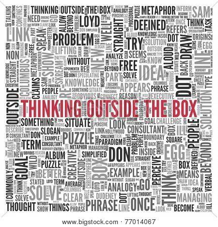 Close up Red THINKING OUTSIDE THE BOX Text at the Center of Word Tag Cloud on White Background.